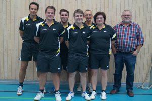1. Mannschaft: v. l.: Matthias Kistner, Christian Schäfer, Daniel Schäfer, Johannes Keller, Matthias Scheuner, Simone Amthor